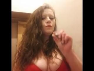 Smoking in my red bra, smoking fetish