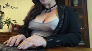 FAT NIPPLE IN THE OFFICE - Tanja has the thickest things in her blouse