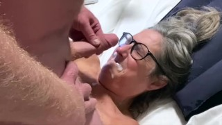 60 Year Old Milf With Glasses Gets Facefucked Stepdad Facializes Her