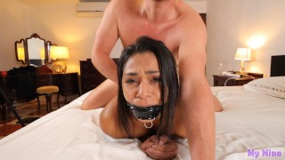 Taped and gagged, made to cum and fucked hard with cum on face at the end | My Nina