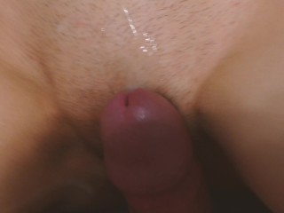POV cum on pussy. Small and tight pussy spreading. She didn't wanted creampie.