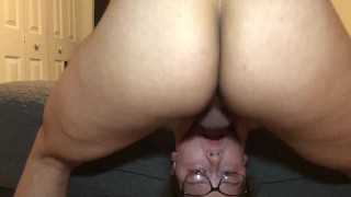 Teen Sucks Dick Upside Down Until She Cries!