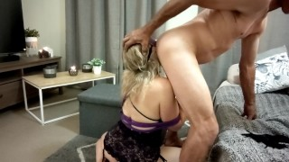 Submissive BDSM ass & tits whipped, face ass & pussy fucked DP & big load cum swap kiss - MIN MOO