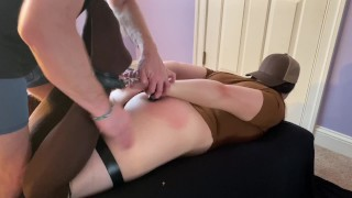 Big Ass Lucy Lush as a sexy UPS driver bound, wedgied, and spanked