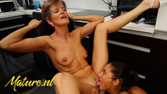 Mature stepmom & Her Young Lesbian Friend Lick Each Other's Pussies