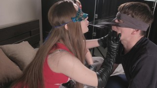 Girls humiliate a slave, he licks his hands Soak up my drool lick my gloves slave