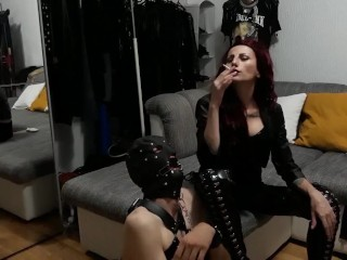 Bondaged and gagged slave is being used as Human Ashtray and dirty spitting can for my pleasure.