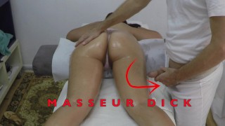 Indian Masseur Jerking Big Cock in front of her Arab Milf Client with Hairy Pussy