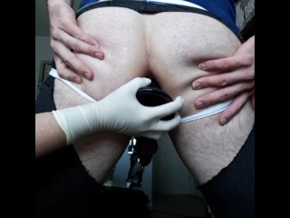 Non femdom guy serious prostate milking toy play...