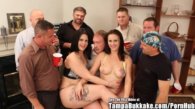 Stripper Sluts Swap Sperm in Bukkake Gangbang