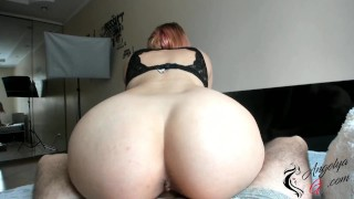 Girl Sucks Cock, Jumps On Top and Guy Can't Resist and Cum