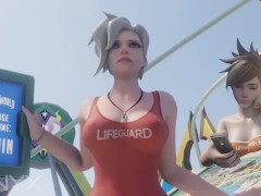 Mercy Lifeguard Cowgirl Average Waiting Time Animation Overwatch 3D