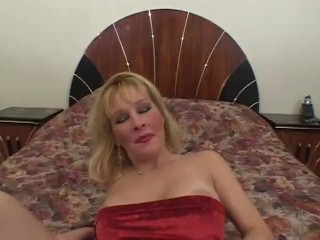 Busty blonde milf with pierced nipples rides...