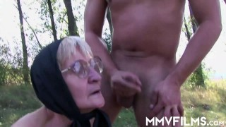 Countryside granny gets dentures and mouth fucked
