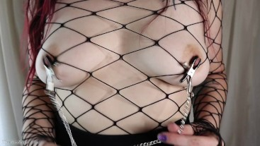 Goth Girl Plays with Nipple Clamps - HD