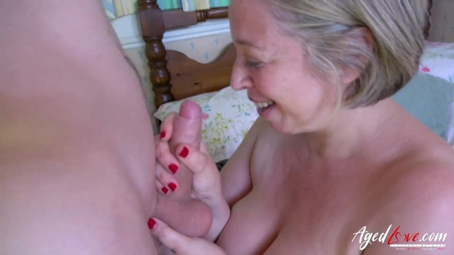 Horny mature lady is playing with hard cock 20