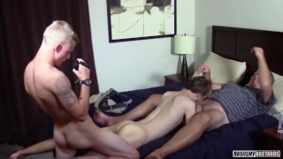 Daddy older younger threesome with two straight boys and deep anal probing for first time gay sex