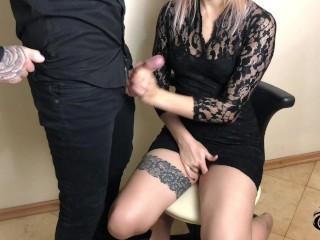 Cute Secretary Pleases Boss With A Wet Handjob