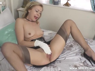 Posh blonde babe Lucy Lauren stripping off and wanking in gloves and nylons