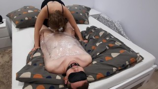 Femdom Slave Eats His Own Cum   Blowjob   Oral creampie   Humiliation   Cuckold Training  