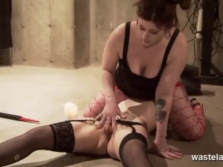 Chubby Dominant Mistress Rides Submissive Lesbians Mouth Dildo For Orgasmic Release
