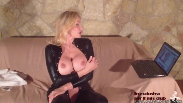 Vittoria Risi italian pornostar in  catsuit lots of cream in her big boobs play a bigcoks squirting 10