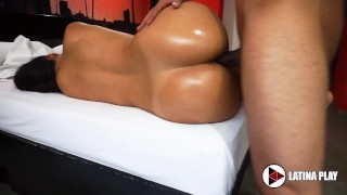 Hot Girl Shows Her Big Oiled Ass Then Gets Fucked Hard