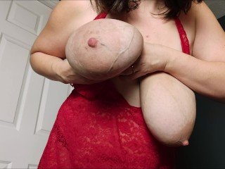 Shaking veiny hangers areolas so saggy clapping boob...