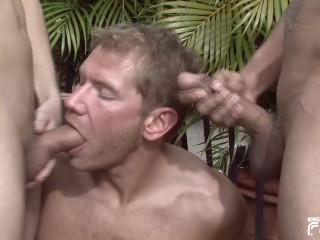 Horny blonde man blows deep...