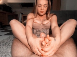 Student footjob cums in mouth...