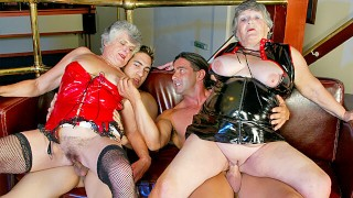 Two old grannies get drilled by younger guys