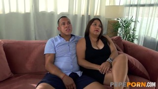 Busty wife gets pounded for the PepePorn's cameras!