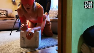 Hot milf in red seduced delivery guy and got creampie, cuckold cleaned (English subtitles) 60FPS