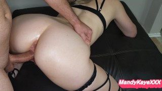 Fit Pawg In Strappy Stockings Cums On Cock And Gets Creampie