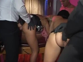 Two busty slaves ass get anal by their...
