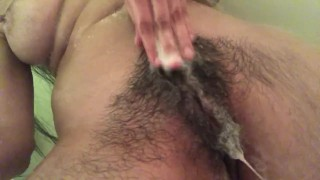 soapy tits in the shower with a hairy bush