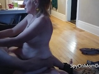 Real Amateur Mom goes for a ride on the couch - Loves cum on her tits