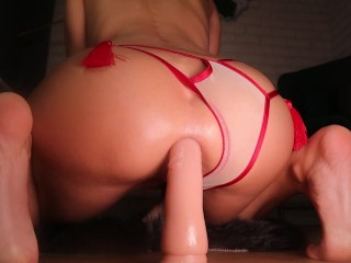 CLOSE-UP DEEP ANAL DILDO RIDE MAKES HER PUSSY SQUIRT   LaraJuicy
