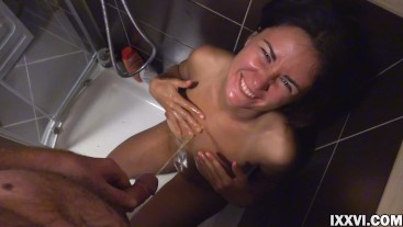 Pissing on my stepsister's tits and she very liked it