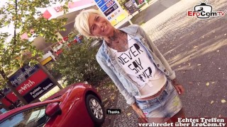 SHORT HAIR GERMAN BLONDE PUBLIC PICK UP AND OUTDOOR FUCK