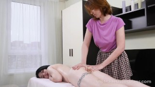 She Made Us Lesbians - Full body massage turns into a fuck fest
