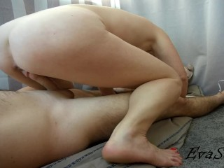Stepmom rides her stepson's cock and he accidentally cums in her
