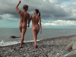Nude young couple beach teen naked couple naturist...