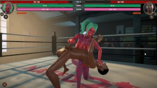 Naked Fighter 3D [SFM Hentai game] wrestling mixed sex fight with giant tattooed red skin girl