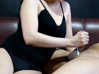 Handjob and post orgasm torture with huge cumshot...