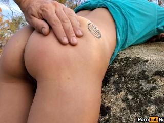 Ass spanking outdoor public nature ass tease...