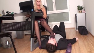 nylon milf train her foot smell slave in office