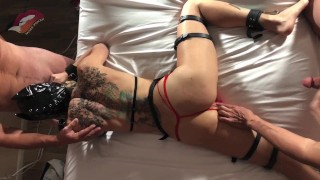 Hotwife / Slutwife Mars Foxxx Bound, Teased, and Used by Dom & his Friend.
