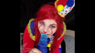 Tiny Teen Clown Takes HUGE Creampie By LARGE Bad Dragon Toy