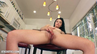 Screen Capture of Video Titled: Rhaya Shyne spreads her tight pink pussy